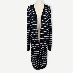 HALOGEN Sz XL Long Sweater Jacket Open Linen blend